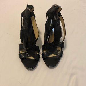 Strappy black leather Michael Kors heels